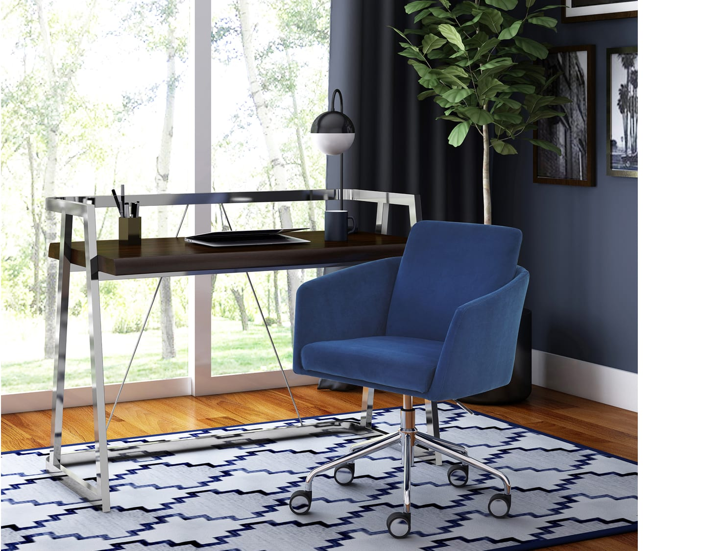 Modern home office desk and blue chair
