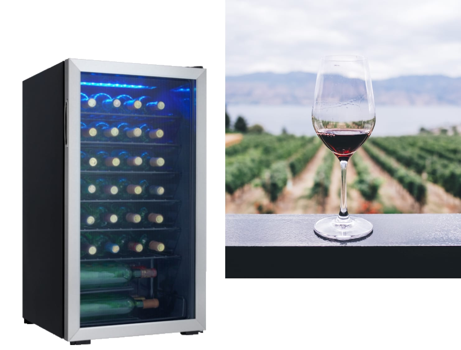 Black and silver danby wine cooler