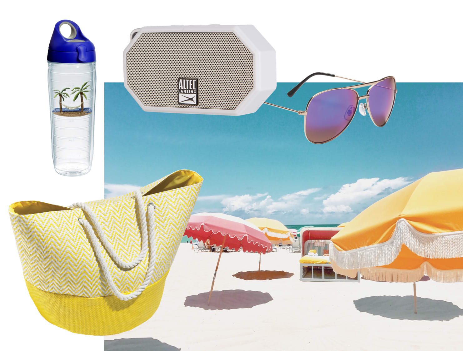 Beach Bag Filled With Summer Supplies