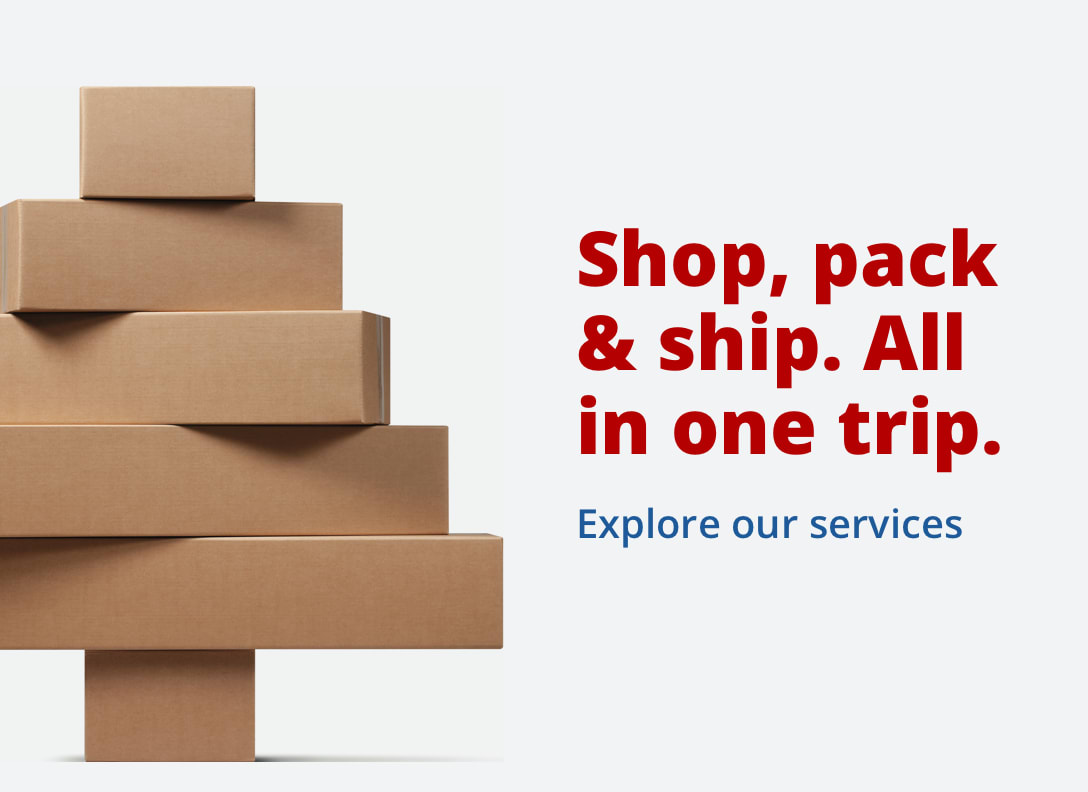 Shop, pack and ship. All in one trip