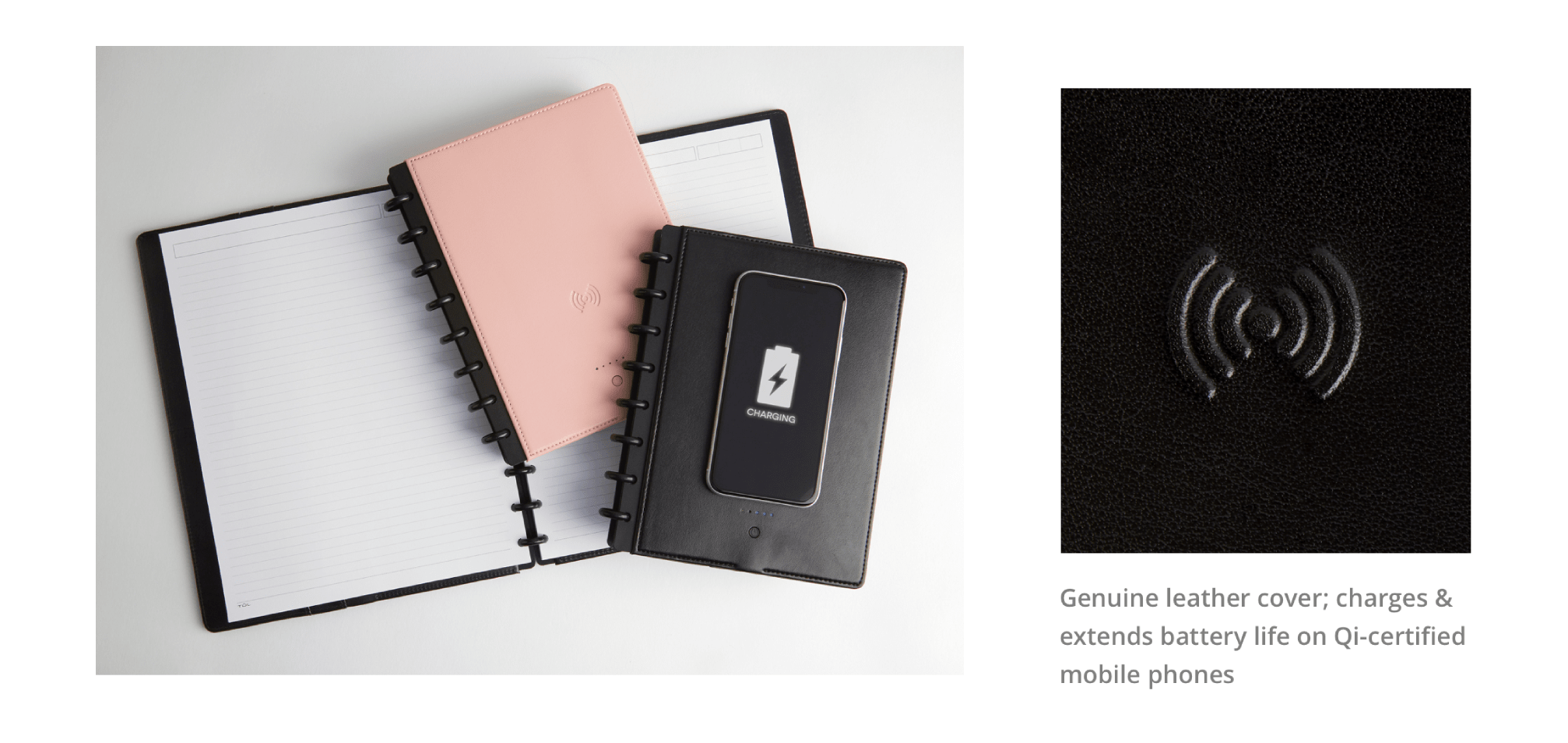 Genuine leather cover; charges & extends battery life on Qi-certified mobile phones