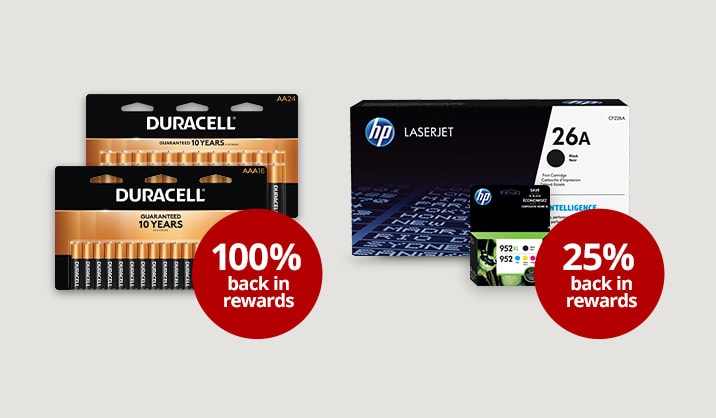 Bonus Rewards on select Duracell batteries and HP ink & toner