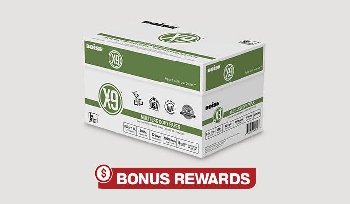 Boise® X-9® Multi-Use Copy Paper, 10-ream case, $29.99 after rewards