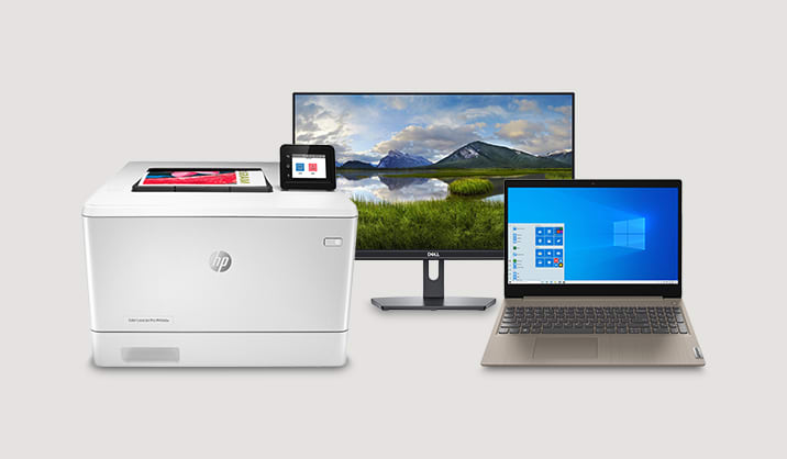Save up to $150 on select PCs, Monitors & Printers