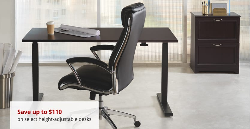Save up to $100 on select height adjustable desks