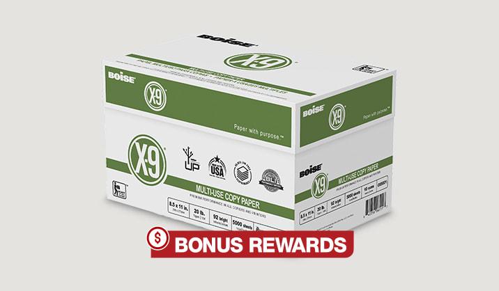 $12 Back in Rewards. Boise® X-9® copy paper, 10-reams, online only