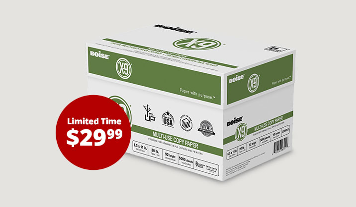 Only $29.99 when you buy online, pick up in store. Boise® X-9® copy paper, 10-reams