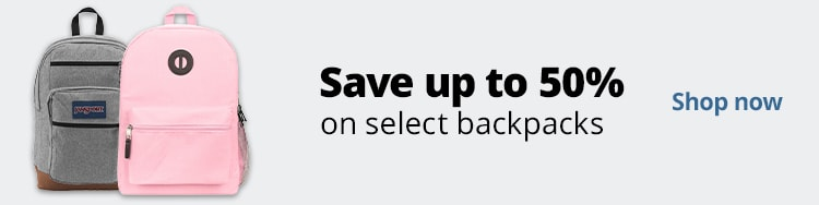 Save up to 50% on select backpacks