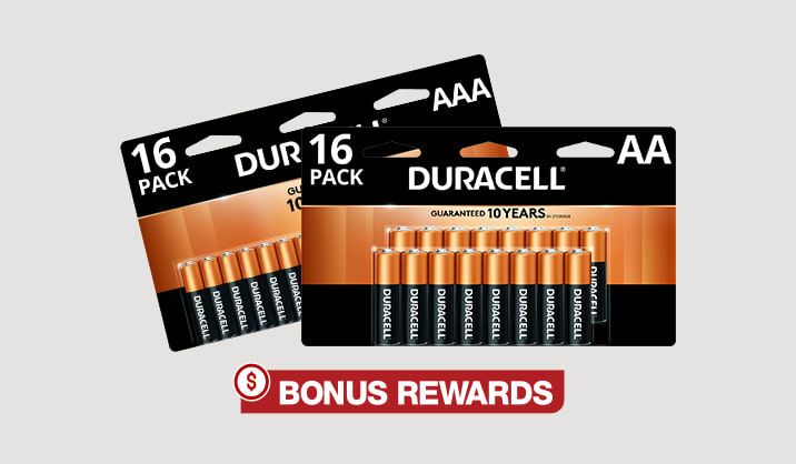 100% Back in Rewards on Duracell®Coppertop AA/AAA 16-pk and AA 24-pk