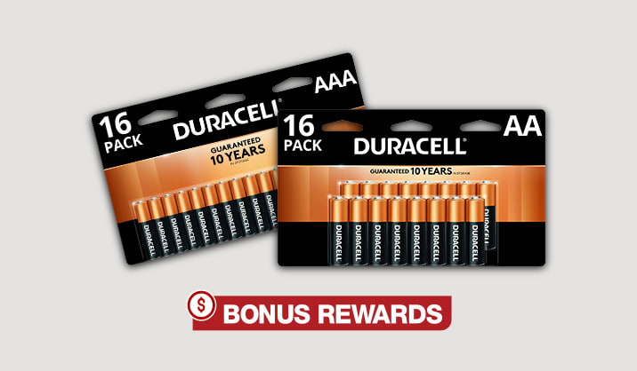 100% back in rewards on Duracell® AA/AAA 16-pk & 24-pk batteries