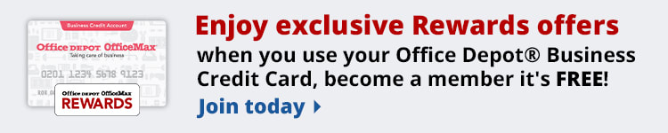 Enjoy exclusive rewards offers when you use your Office Depot® Business Credit Card, become a member it's FREE!