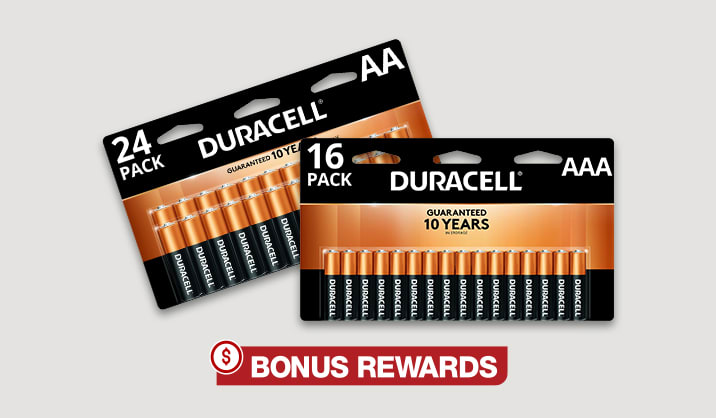 100% Back in Rewards on Duracell® Coppertop AA/AAA 16-pk & AA 24-pk