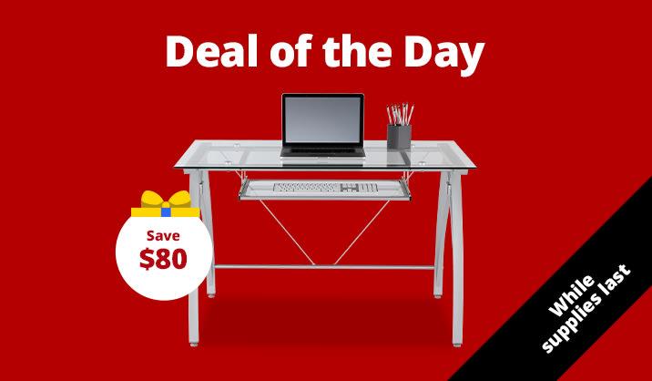 """$139.99 Realspace® Vista 48"""" Wide Glass Computer Desk, Silver"""