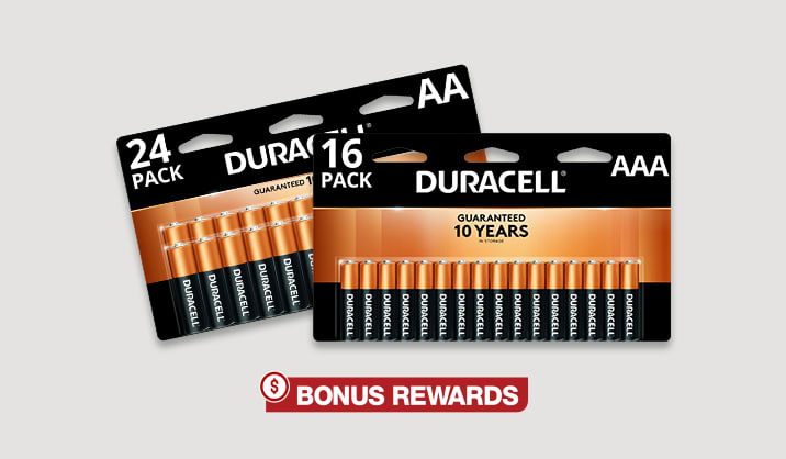 100% Back in Rewards on select Duracell® Coppertop AA/AAA 16 & 24 packs