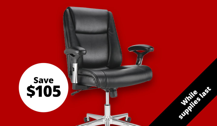 $94.99 Realspace® Densey Bonded Leather Mid-Back Manager's Chair