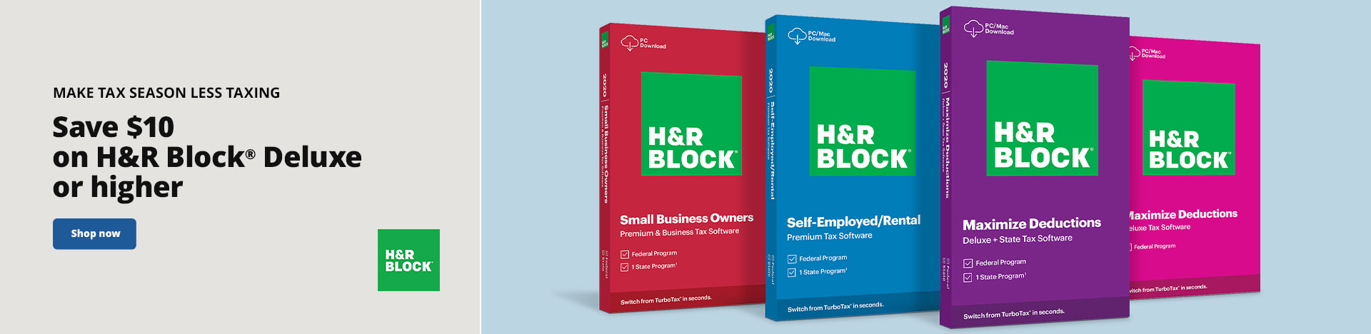Make Tax Season Less Taxing. Save $10 on H&R Block® Deluxe or higher