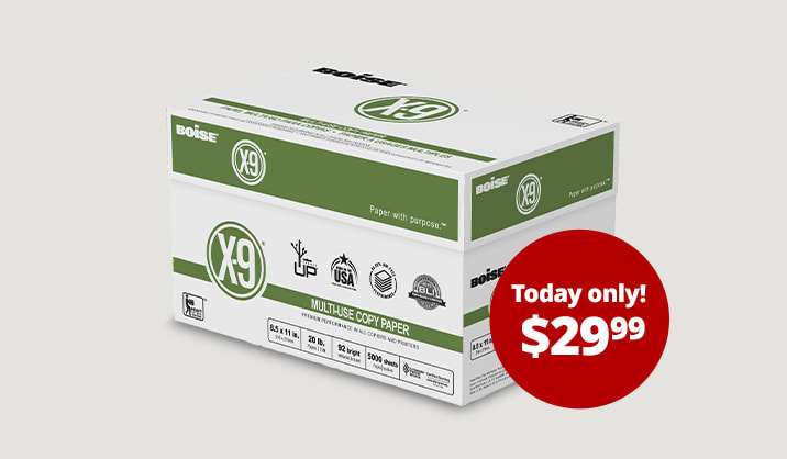 Hot Paper Deals $29.99 Boise® X-9® copy paper, 10-ream case