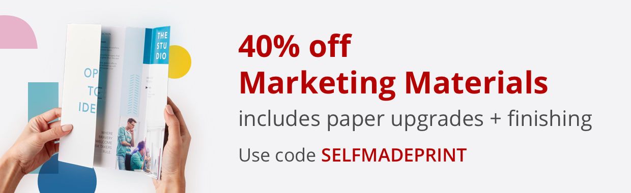 40% off Marketing Materials including paper upgrades and finishing