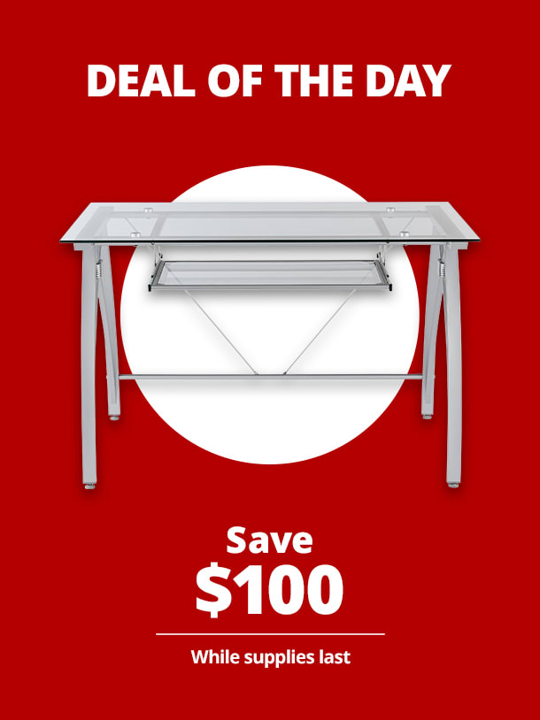 "$129.99 Realspace® Vista 48""W Glass Computer Desk"