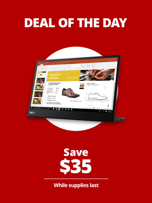 "$214.99 Lenovo™ ThinkVision M14 14"" FHD IPS USB-C Portable Monitor"
