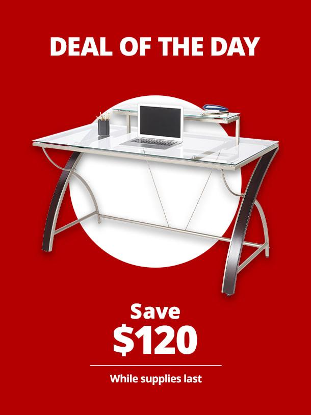 "$139.99 Realspace® Axley 55""W Glass Computer Desk"
