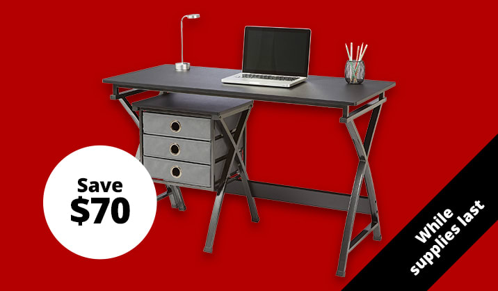 "$99.99 Brenton Studio® X-Cross 48""W Desk And File Set"