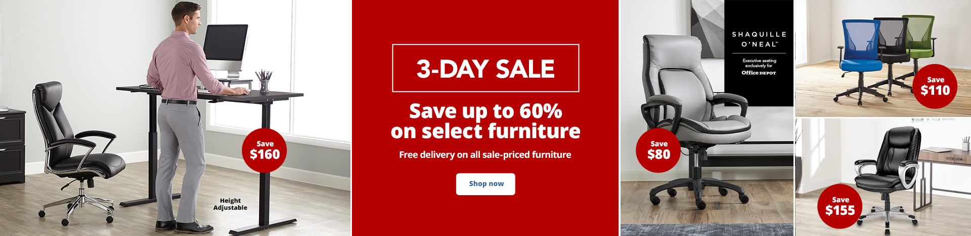 3-Day Sale. Save up to 60% on select furniture Free delivery on all sale-priced furniture