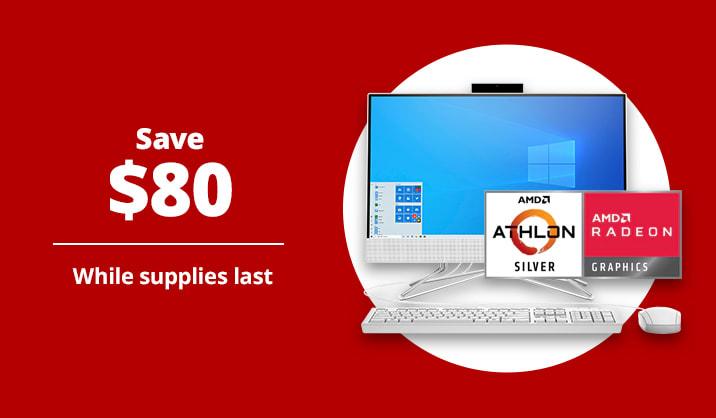 "$349.99 HP 21.5"" All-In-One Desktop PC, AMD Athlon™ Silver, 4GB Memory, 256GB SSD, Windows® 10 Home"