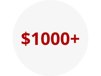 $1000+