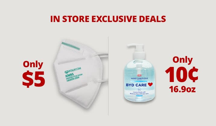 When you buy online, pick up in store on hand sanitizers, masks & more