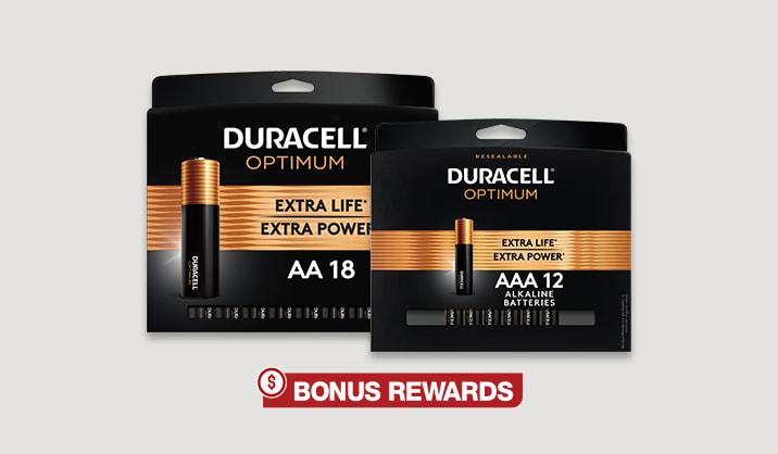 100% Back in Rewards on Duracell® Optimum AA/AAA 12-pk & 18-pk batteries