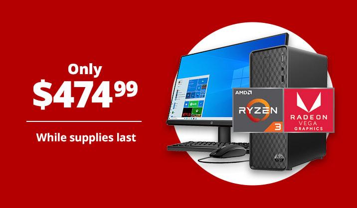 "Only $474.99 HP Slim S01 Desktop PC Bundle, 23.8"" Screen, 8GB Memory, 256GB SSD"
