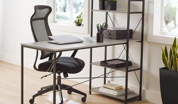 Realspace® Trazer Desk with Storage Shelves