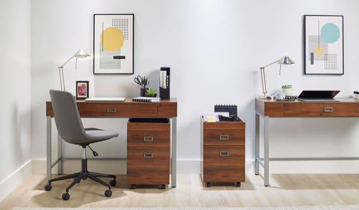 Realspace® Brezio Desk with File Cabinet