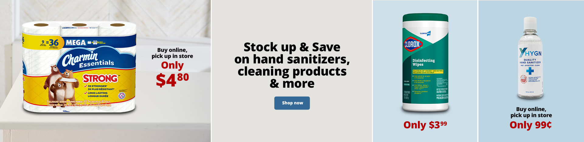 Stock up & Save on hand sanitizers, cleaning products & more