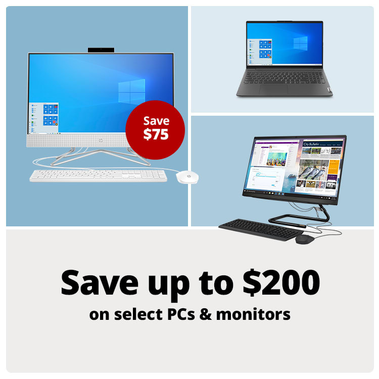 Save up to $200 on select PCs & Monitors
