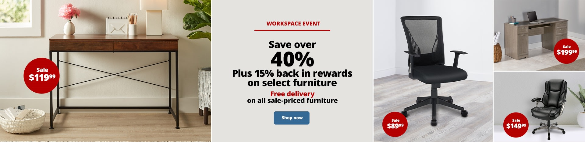 Save over 40% Plus 15% back in rewards on select furniture