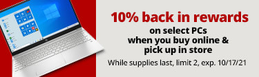 10% back in rewards when you buy online, pick up in store