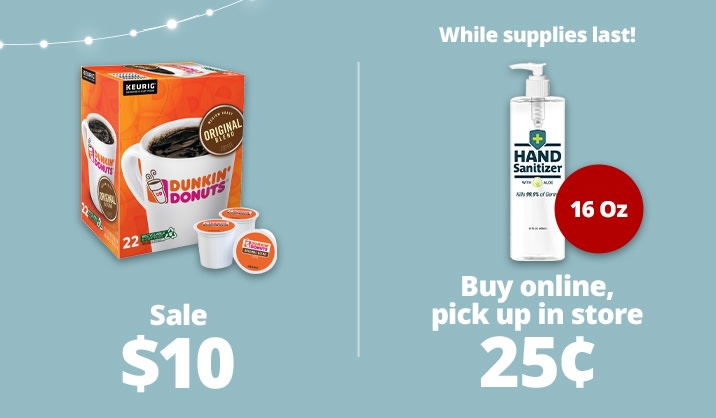 Stock up & Save on coffee, sanitizers and more