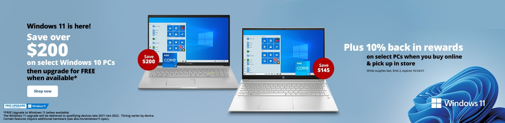 Save over $200 on select Windows PCs then upgrade for FREE when available*
