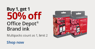 Buy 1 Get 1 50% Off Office Depot Brand Ink.Limit 2. Multipacks count as 1.