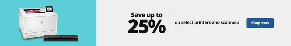 Save up to 25%  on select printers and scanners