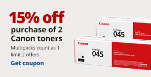 15% off the purchase of 2 Canon Toners  Limit 2. Multipacks count as 1.