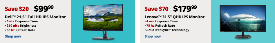 Dell 21.5 Full HDIPS Monitor, Lenovo 31.5 QHD IPS Monitor
