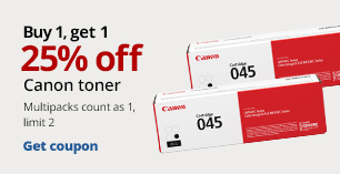 Buy1 Get 1 25% Off Canon Toner.  Limit 2. Multipacks count as 1.