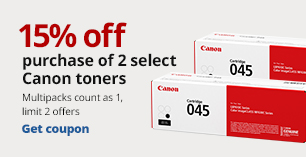 15% off 2 Canon Toners.   Limit 2. Multipacks count as 1.