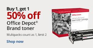 Buy 1 Get 1 50% off Office Depot Brand Toner. Limit 2. Multipacks count as 1.