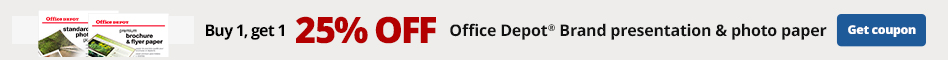 Buy 1 Get 1 25% off Office Depot presentation & photo paper