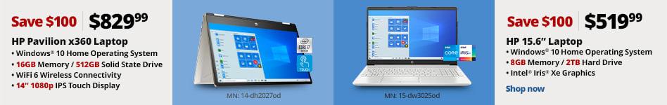 """8359359 HP Pavillion 14"""" Laptop 16GB/512GB SSD Save $100, Now $829.99  3886367 HP 15.6"""" Laptop 8GB/2TB HDD Save $100, Now $519.99"""