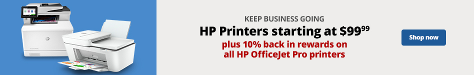 Keep business going with HP Printers starting at $99.99 plus 10% back in rewards on select HP OJ Pro Printers.